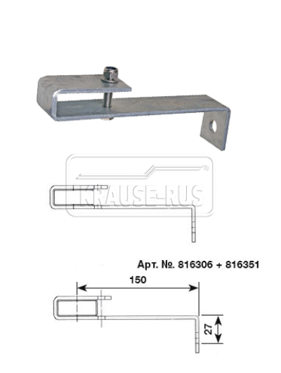 Стандартный стенной анкер,150 мм, оцинкованная сталь (1 шт.) Krause 816306