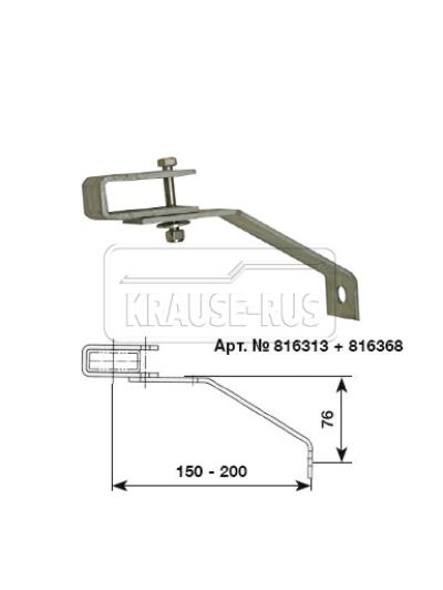 Регулируемый стенной анкер, 150–200 мм, оцинкованная сталь (1 шт.) Krause 816313