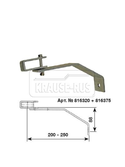 Регулируемый стенной анкер, 200–250 мм, оцинкованная сталь (1 шт.) Krause 816320