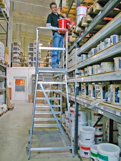 Лестница с платформой односторонняя Krause STABILO