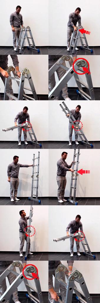Трансформация шарнирной лестницы с помощью рычага управления Krause