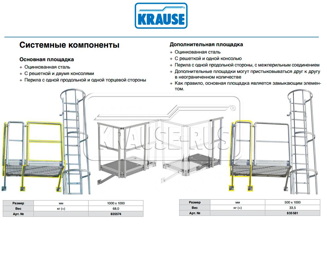 Площадка для пожарной лестницы Krause 835574/835581